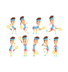 set of young tennis player standing with racket in vector image
