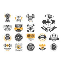 set retro fitness logo templates vector image