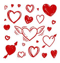 set sketch doodle pen draw symbol a heart vector image