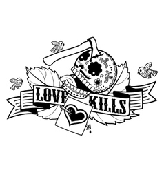 Stiker love kills vector