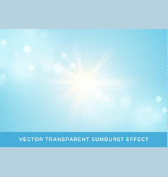 sun rays blurred bokeh transparent effect isolated vector image