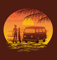Surf silhouettes vector
