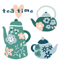 tea time floral kettles with flowers vector image