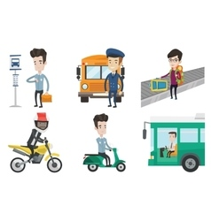 Transportation set with people traveling vector