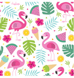 Tropical seamless pattern with pink flamingo vector