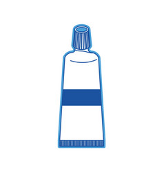 tube of toothpaste in blue silhouette vector image