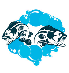 Two fishes in the water vector