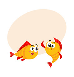 Two golden fish characters showing thumb up vector