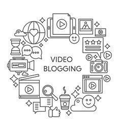 video blogging thin line concept vector image