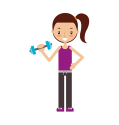 Weight lifting woman vector