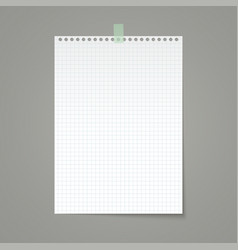 white squared paper sheet torn from a notebook vector image