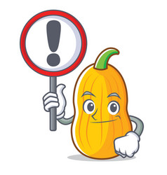 With sign butternut squash character cartoon vector