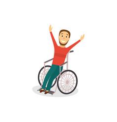 young man in wheelchair rehabilitation concept vector image