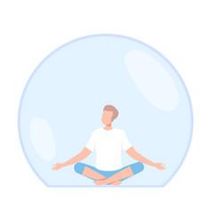Young man meditating inside transparent bubble vector