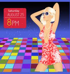 young woman in nightclub dances on the floor vector image