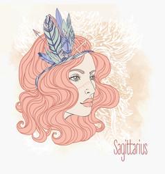 Zodiac sagittarius sign as a beautiful girl vector