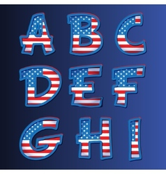 USA alphabet on a blue background vector image vector image