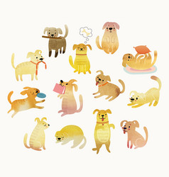 cute watercolor yellow dogs vector image vector image