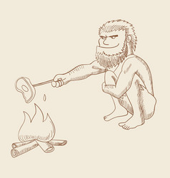 line art of a caveman cooking meat on fire vector image