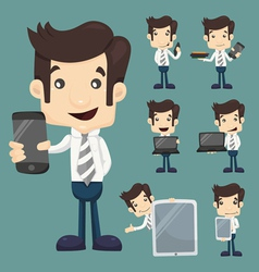 Set of businessman show tablet and smart phone cha vector image