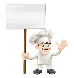 waving chef holding sign vector image vector image
