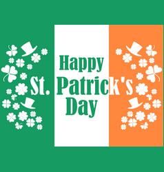 happy st patricks day flag of ireland green vector image vector image