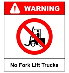 No forklift truck sign Red prohibited icon vector image vector image