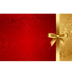 red and gold textured background with bow vector image