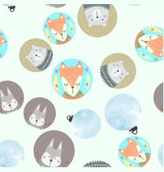 seamless pattern with gray rabbit fox polar bear vector image vector image