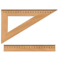 Wooden triangle and ruler vector image