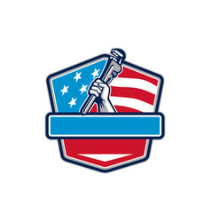 plumber hand pipe wrench usa flag shield retro vector image