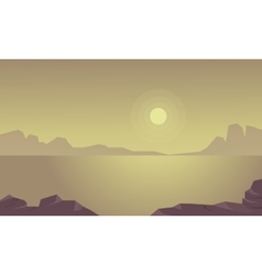 Silhouette of cliff and lake landscape vector