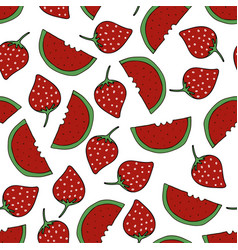 watermelon and strawberry pattern vector image