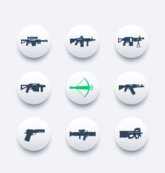 Weapons firearms icons set sniper and assault vector