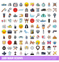 100 war icons set cartoon style vector