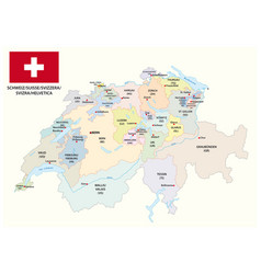 administrative and political map of switzerland vector image
