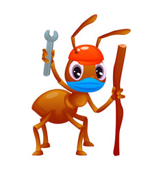 Adorable ant with a wrench and a stick in its vector