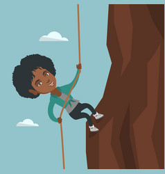 african business woman climbing the mountain vector image