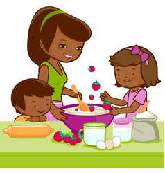 African mother and children cooking in kitchen vector