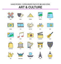 Art and culture flat line icon set - business vector