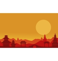 At sunset pavilion landscape of silhouettes vector image