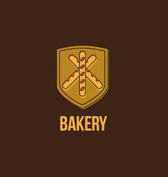 bakery logo baguette emblem vector image