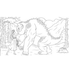 beauty and beast coloring page vector image