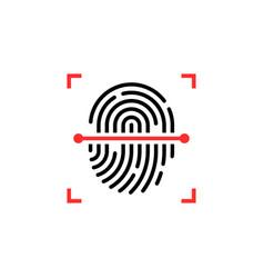 Black and red fingerprint thin line scanner vector