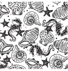 Black and white seahorse starfish and vector