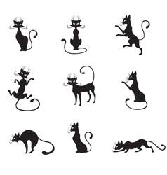 black graceful cats vector image