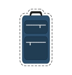 Blue suitcase travel equipment cut line vector