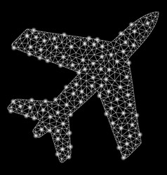 Bright mesh 2d airplane with flash spots vector