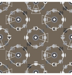 Brown attraction ferris wheel seamless pattern vector