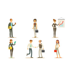 business people working in office set male and vector image